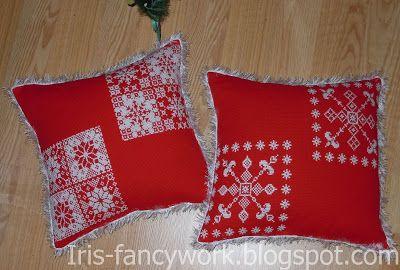 My Fancywork Blog: Красные новогодние подушки со снежинками вышитыми ...