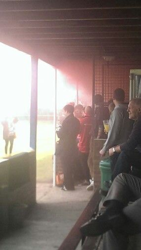 Clapton Ultras in action at Wootton Blue Cross in the FA Vase