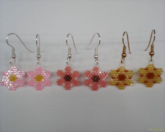Brick stitch Flower Earrings Delica seed beads 3 pr by Beadedforu, $12.00