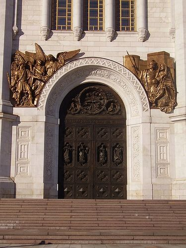 Door of really big church in Russia