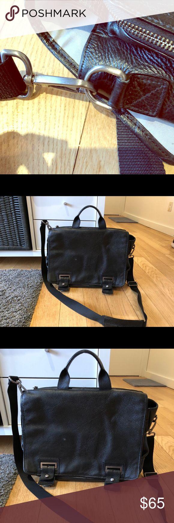 Banana Republic messenger bag Black leather messenger bag for men with laptop pocket Good used condition Banana Republic Bags Laptop Bags