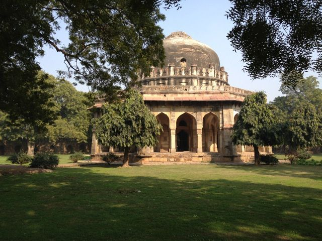 lodi_gardens_sikander_lodi_tomb after the lodi dynasty was defeated by the mughals, villages grew up amongst the monuments.    in 1936, the villagers were relocated so that the wife of the british governor-general could landscape the park.