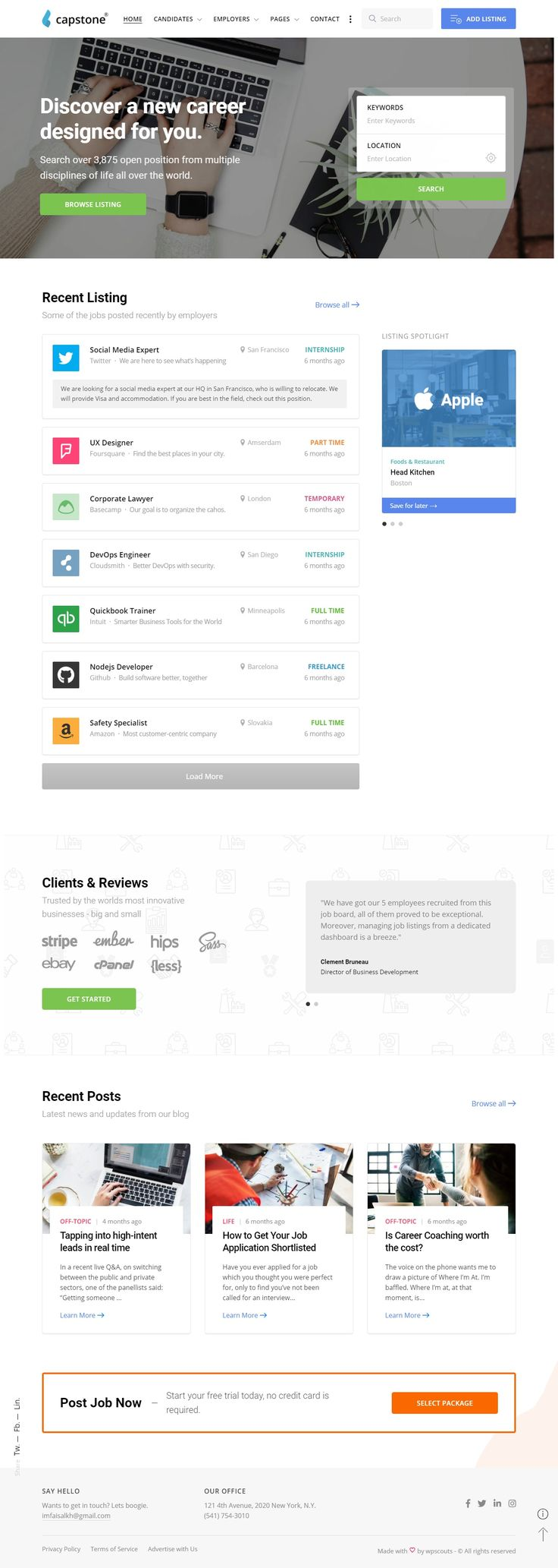 Capstone Job Board WordPress Theme website
