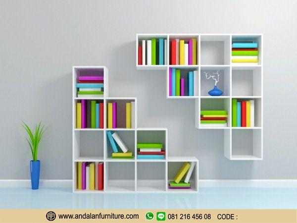 desain rak buku minimalis kotak terbaru