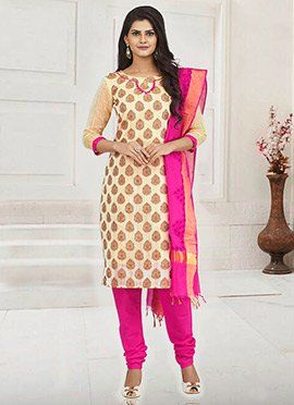Cream Blended Cotton Churidar Suit