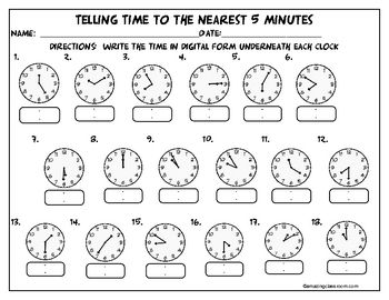 This activity page/worksheet contains multiple opportunities for your students to practice telling time to the nearest five minutes.  Use this as a...