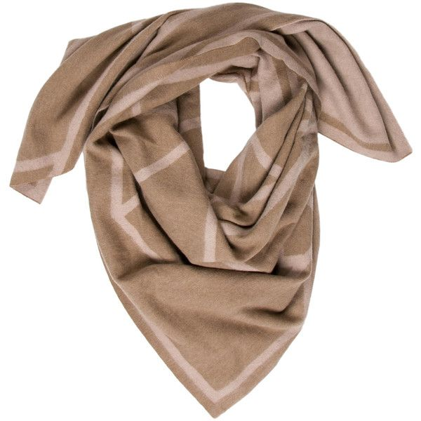 Pre-owned Tory Burch Cashmere Geometric Scarf ($95) ❤ liked on Polyvore featuring accessories, scarves, brown, patterned scarves, brown scarves, tory burch scarves, oversized scarves and brown shawl
