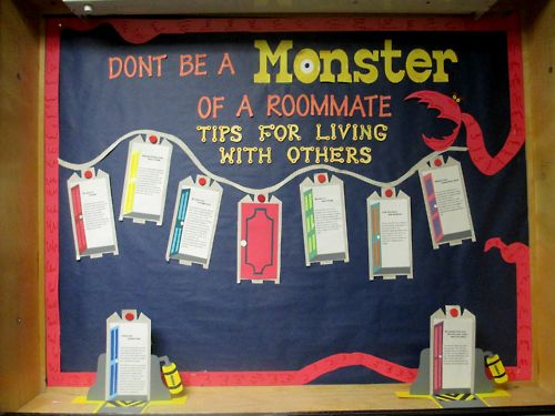 first theme. also use things to talk about with roommate Monsters Inc. Roommate bulletin board. #ResLife #BulletinBoard