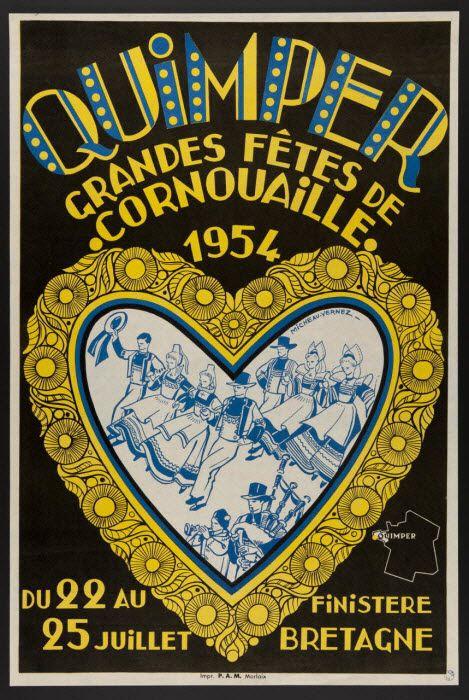 estampe - QUIMPER GRANDES FETES DE CORNOUAILLE 1954   MuCEM - Musée des civilisations de l'Europe et de la Méditerranée