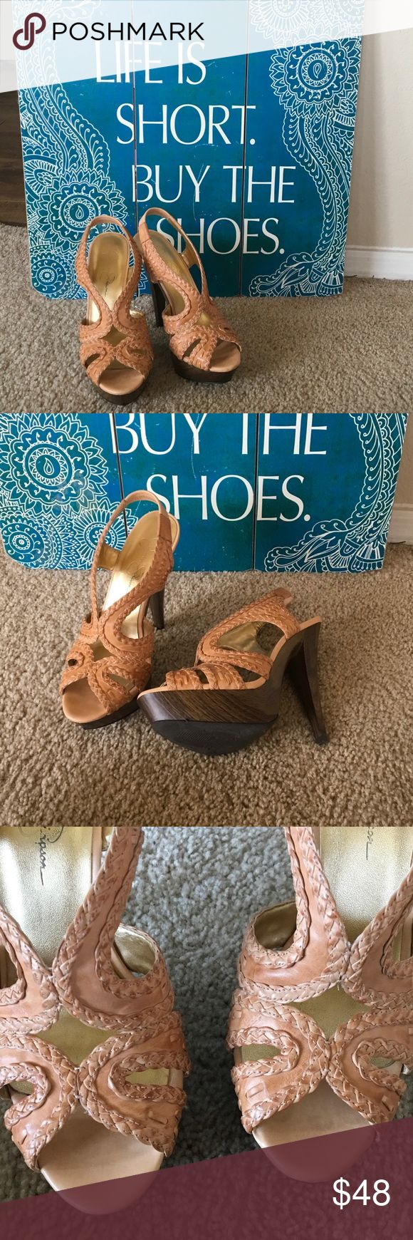 """Jessica Simpson Sandal Leather HIGH HEEL 8 1/2 B Platform  high sandal, wood look base, has had some fill ins, superficially....wood tone markers... 5"""" heels 1 3/4"""" platform. light brown leather woven sandal , neutral. Size 81/2 B / 38 1/2 B🎀❣️ Jessica Simpson Shoes Sandals"""