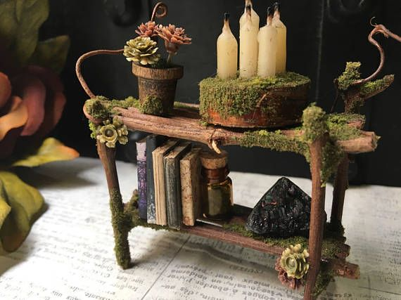 Faery Bookshelf Fairy Furniture Fairy Shelf Miniature Fairy Furniture Fairy Garden Crafts Fairy Garden Furniture