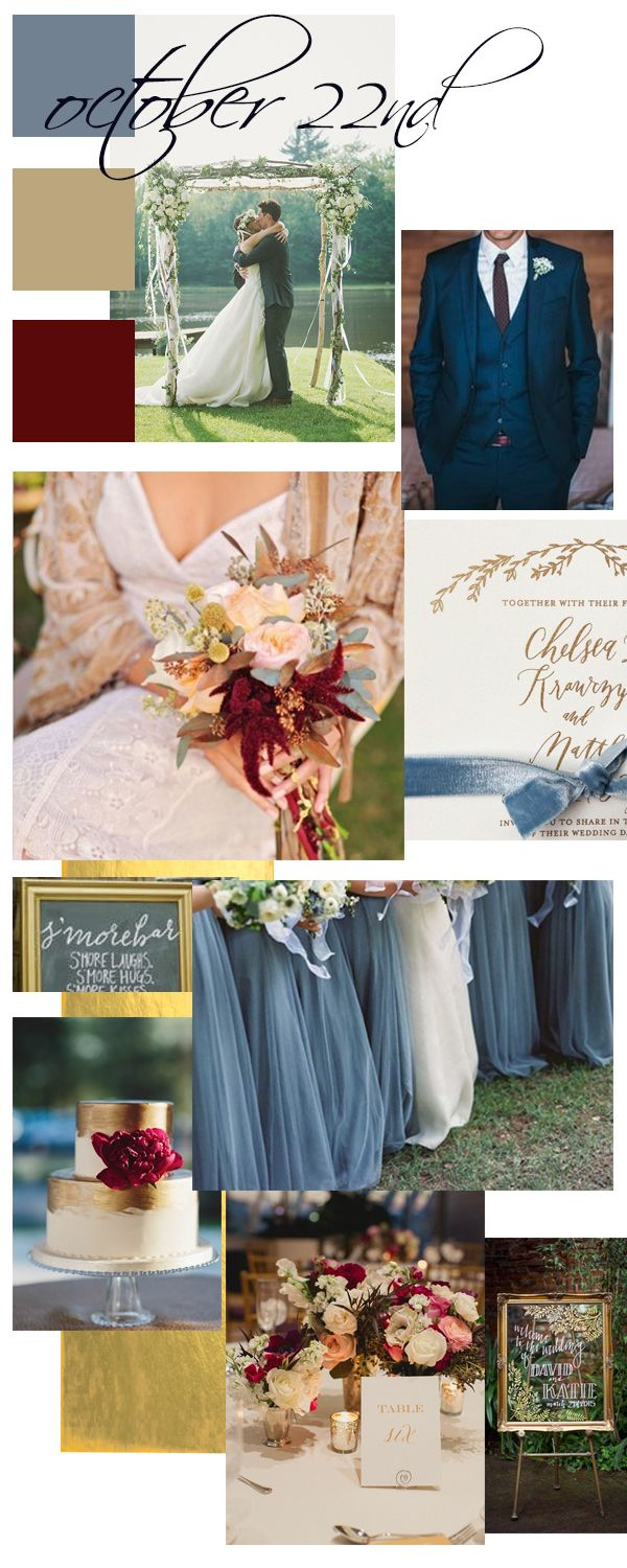 October weddings | wedding mood board | cranberry | dusty blue | outdoor weddings | fall weddings | bridal looks | navy wedding suit | floral arch | bridal bouquets