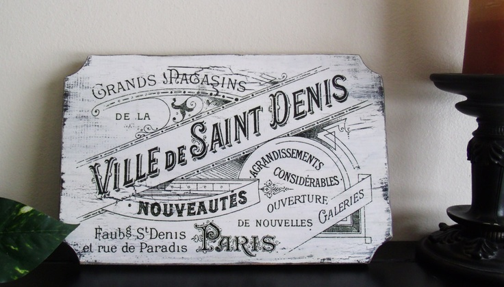 "Vintage French  sign  11"" x 7""  Shabby Chic,  French Victorian Sign Old Department Store Sign. $10.00, via Etsy."