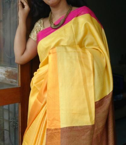 Bummblebee Handloom Tussar Silk Saree
