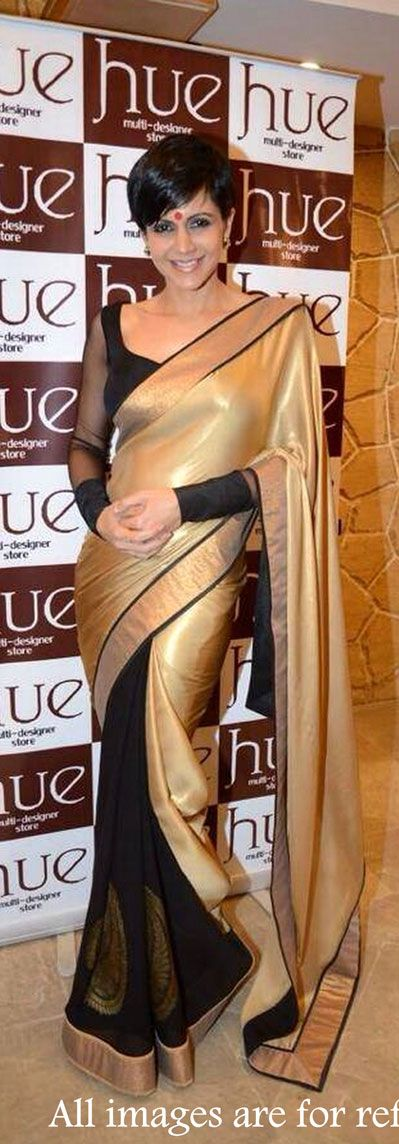 USD 34.63 Mandira Bedi Glod and Black Saree 34789
