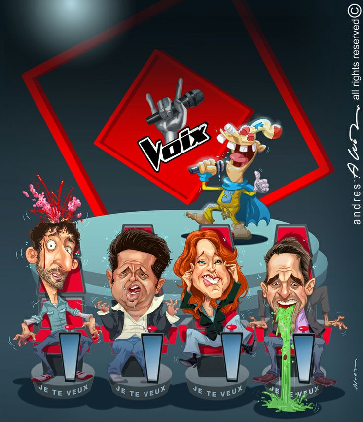 LA VOZ - LaVoix - (Louis Jean Cormier - Eric Lapointe - Isabelle Boulay - Marc Dupre Vallee) - Ilustracion digital