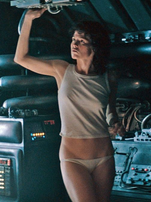 Sigourney Weaver - Alien (1979) I love that she played a rather masculine character but they didn't tape her breasts. She kept her rather feminine attributes.