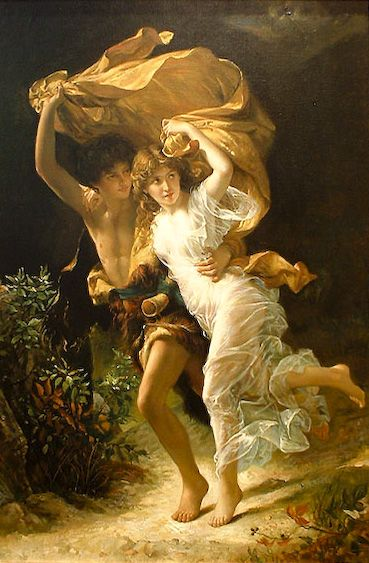 pierre auguste cot, 'the storm'.  the main attraction of this painting is how he illuminated the girl, it looks pretty neat in person, though i've got no idea why she had to wear a see-through dress..