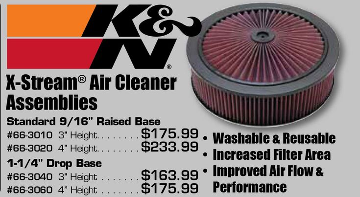 """X-Stream® airflow assemblies are an easy and fast way to add more CFM of airflow through your carburetor. Replaces your existing air cleaner and allows air to enter smoothly from the top, which helps to draw more air in from the sides.  • Washable & reusable air filter  • Increased filter area  • Improved air flow  • Improved performance  Standard 9/16"""" Raised Base  https://aadiscountauto.ca/special/404/kn-xstream-air-cleaner.html  #XStream #KNXStream #Carburetor #AirCleaner  #AADiscountAuto…"""