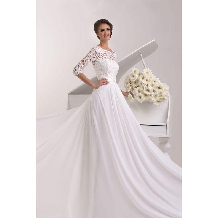 Poladia - honosné svadobné šaty s krajkou a dlhými rukávmi