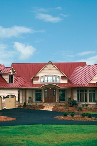 Red Roof, neutral exterior paint with a rustic feel.