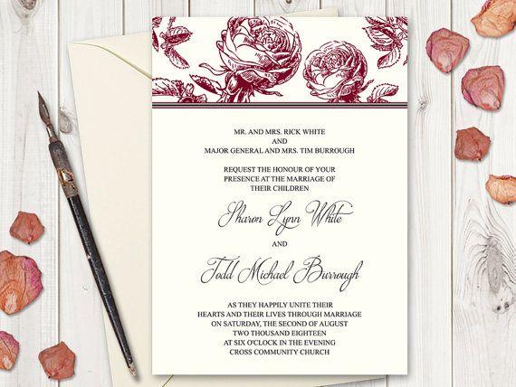 Burgundy Red Roses Wedding Invitation Printable Template by Shishko Templates on Etsy. Vintage Style DIY Wedding invites