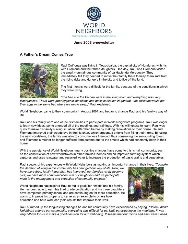 World Neighbors Online Newsletter - June 2008