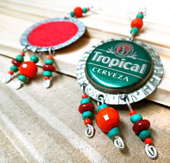 Bottle Cap Earrings. Pendientes de Tapas de Botellas de TROPICAL por MarlyHandmade en Etsy