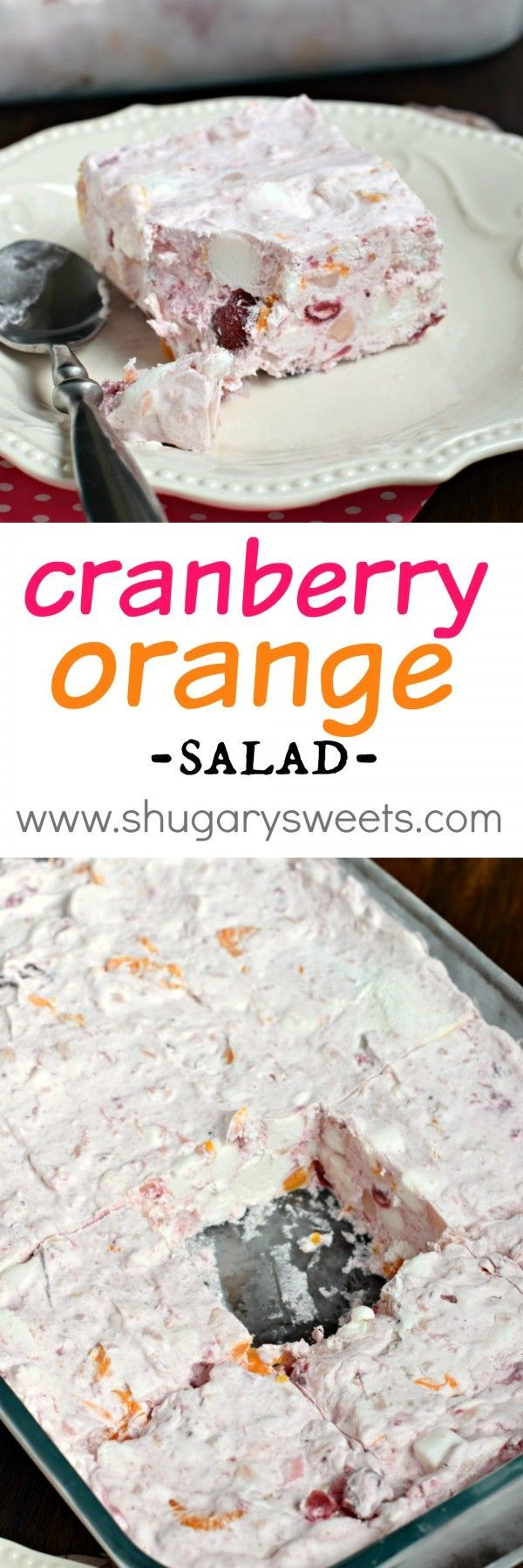 A sweet, fruity side dish, this Frozen Cranberry Orange Salad is great for the holidays. This recipe can be made days in advance!