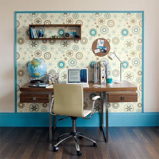 Using Wallpaper to Define a Workspace  Great Interior Design Idea.