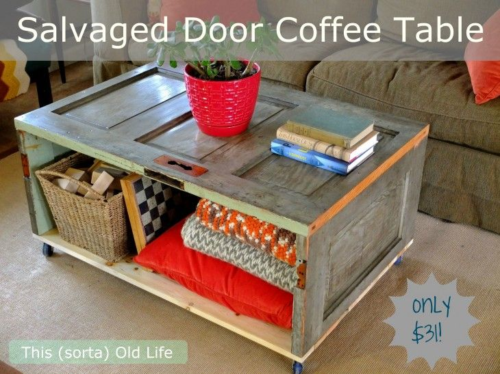 salvaged doors as a coffee table by This (sorta) Old Life - love this!