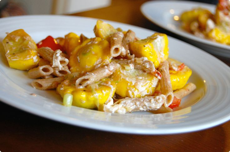 patty pan squash, tomato and goat cheese pasta