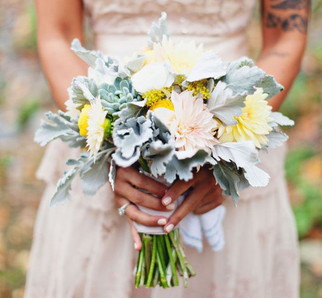 dusty miller bouquet---I'm all about the the fuzzy leaves :)  had them in my bouquet and still as obsessed as ever~