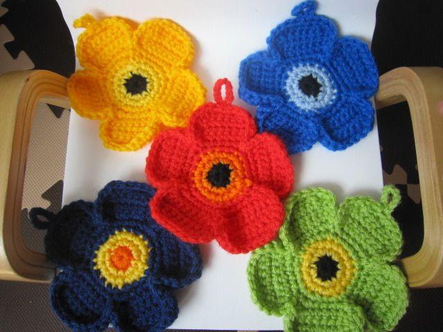 crochet scrubbies marimekko style
