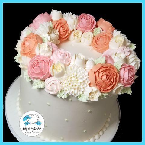 Pink and Salmon Coronet Buttercream Cake II