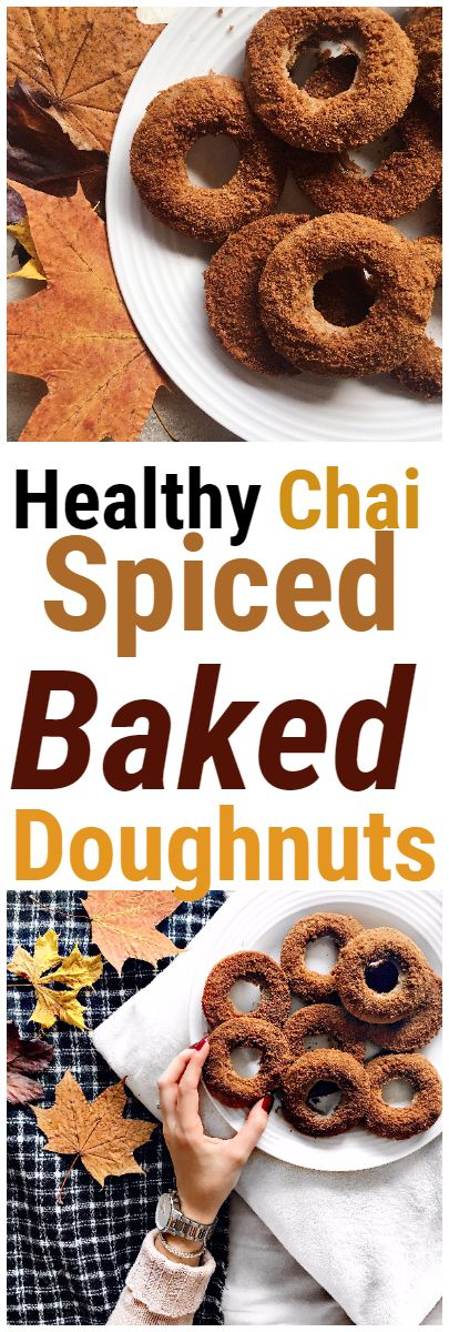 Chai Spiced Baked Doughnuts for a healthy, vegan and gluten free dessert or snack #chai #chaispiced #doughnut #donut #bakeddoughnut #healthy #vegan #glutenfree #recipe #autumnrecipes #fallrecipes