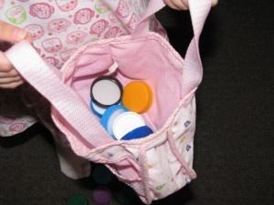 Milk bottle tops for pretend money for kids imaginative play games