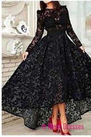 Elegant High Low Black Lace Long Sleeveless Cheap High Neck A-Line Prom Dresses uk PM828
