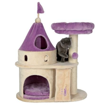 Trixie My Kitty Darling Castle in Purple & Beige.  Felines can sharpen their claws on the durable, sisal scratching post instead of on your furniture or carpet. If a nap or place to hide is in order, your little princess can crawl inside the condo base which is covered with plush inside and out.