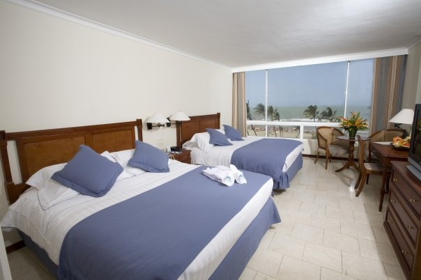 Habitación doble, Hotel Celuisma Caribe, en Cartagena de Indias, Colombia.