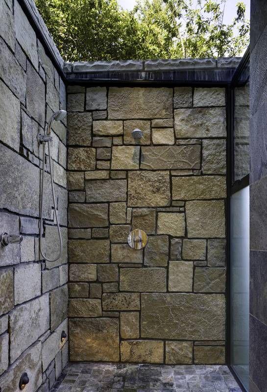 Outdoor showerNorth Bays, Bathroom Design, Shower Design, Bays Resident, Prentiss Architects, Modern Bathroom, Stones Wall, Outdoor Showers, Modern Home