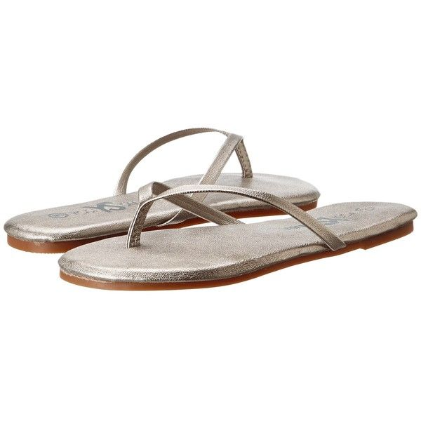 Yosi Samra Roee Metallic Leather Flip Flop Women's Sandals ($50) ❤ liked on Polyvore featuring shoes, sandals, flip flops, pewter, leather shoes, yosi samra shoes, metallic sandals, party shoes and flip flop sandals