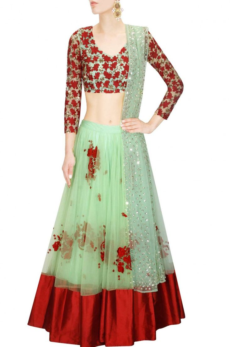 Mint green and red floral thread and sequins embroidered lehenga set available only at Pernia's Pop Up Shop.