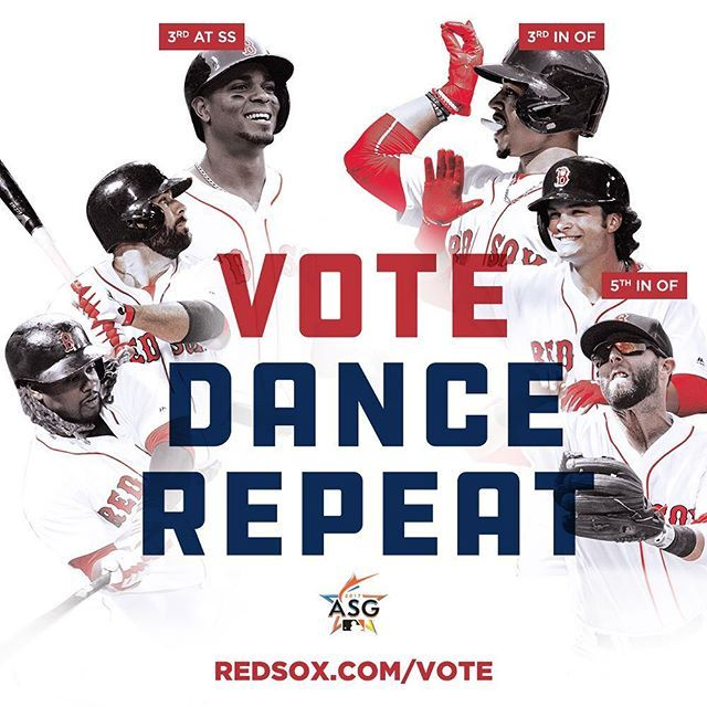 1st ballot update & the standings are close! Mookie's in line to start but you've got to keep voting!#VoteRedSox