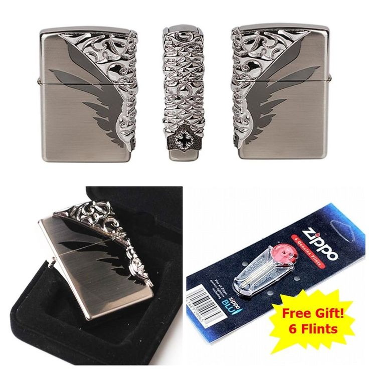 [Zippo] Shield NI Windproof Lighter Made in USA GENUINE + 6 Flints for free