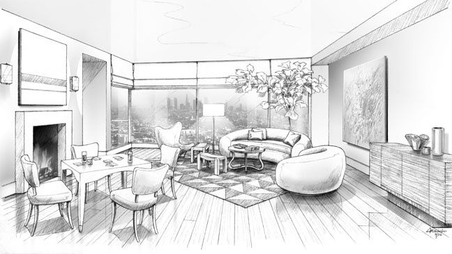 A black and white rendering of Waldo Fernandez's living room.