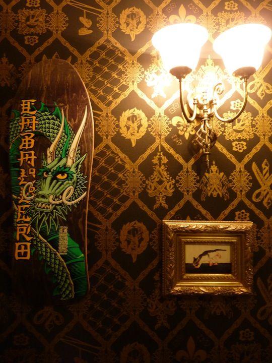Wallpaper Design, home ,Bristol, Barbers shop, custom wallpaper ,Hbad ,FlavorPaper, Mattmanson.co.uk ,freelance work , gold, gold and black, gold wallpaper, Brooklyn ,NYC
