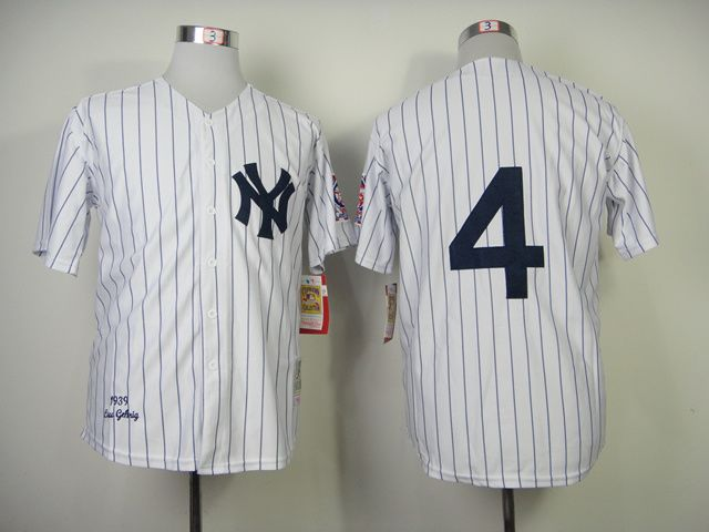 Men's MLB New York Yankees #4 Lou Gehrig 1939 White Throwback