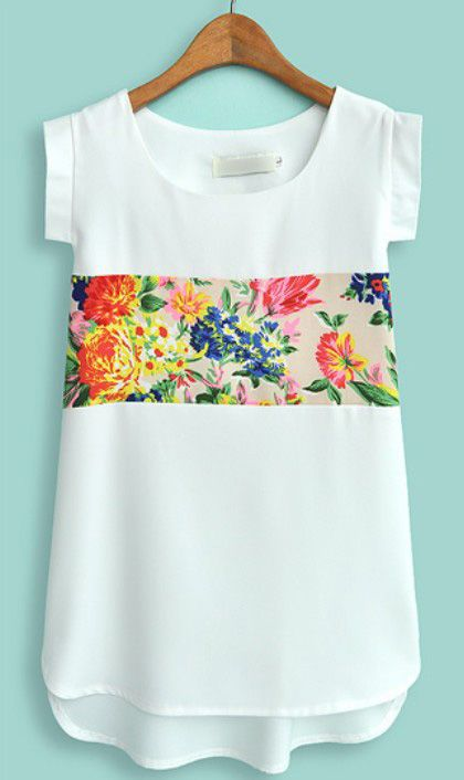 White Short Sleeve Contrast Floral Chiffon Blouse US$22.13