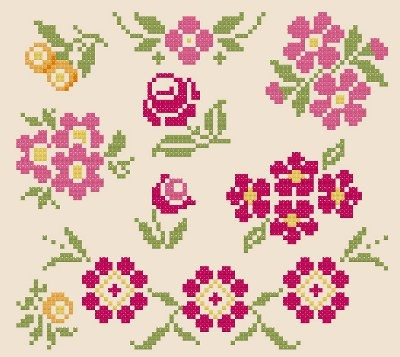 Collection of Floral Motifs - Cross Stitch Pattern PDF www.blackphoebedesigns.com